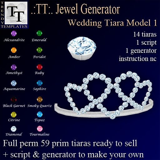 Vendor Jewel Generators Wedding Tiara Model 1