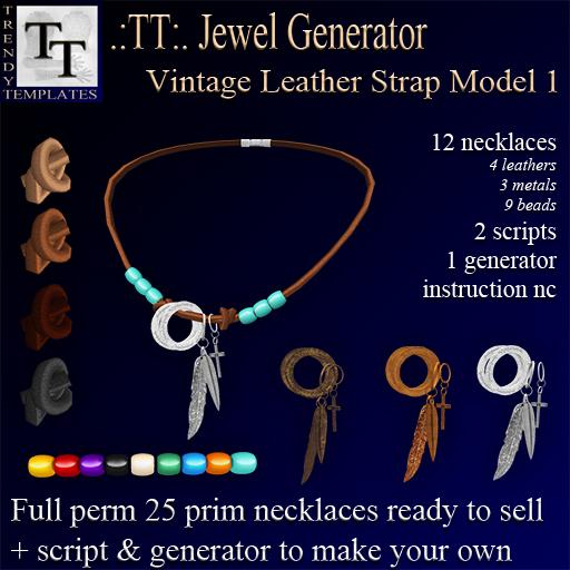 PROMO Jewel Generators Vintage Leather Strap Necklace Model 1